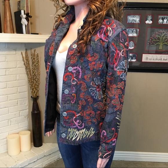 30321f6c5f Chico s Jackets   Blazers - Chico s AMAZING flower embroidered denim jacket